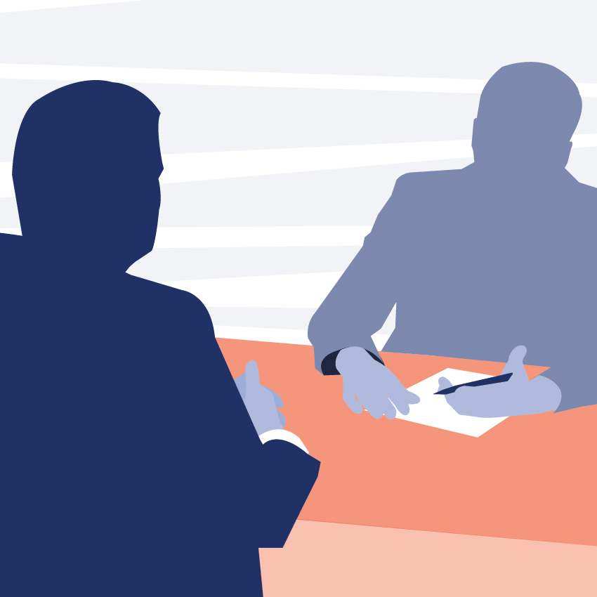 Graphic of interviewer and interviewee sitting on opposite sides of a desk