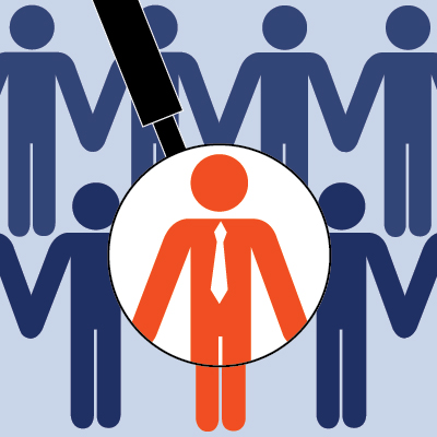 Graphic of rows of people icons with one person in a stand out colour under a magnifying glass