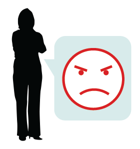 Graphic of silhouetted figure with arms folded and a grumpy face emoji