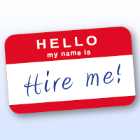 """Graphic of a name bade saying """"Hire me"""""""