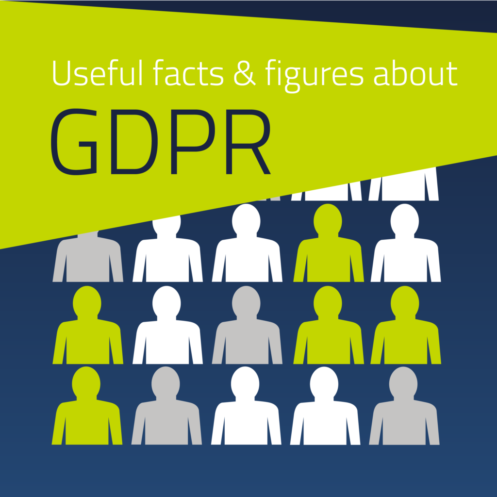 Graphic of silhouetted figures introducing facts about GDPR
