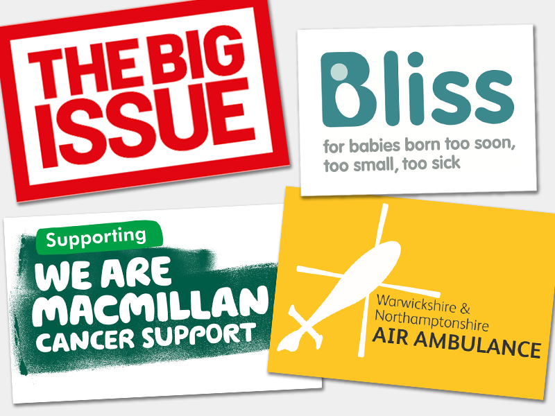 Logos of Bliss, Air Ambulance, Macmillan and The Big Issue illustrating the charities Fuel Recruitment are supporting