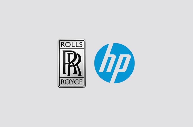 Rolls Royce and Hewlett Packard logos next to each other